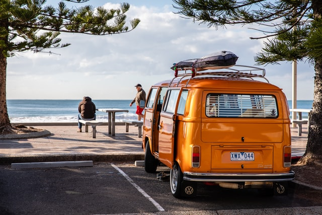 this campervan at the sea is not a very green car but