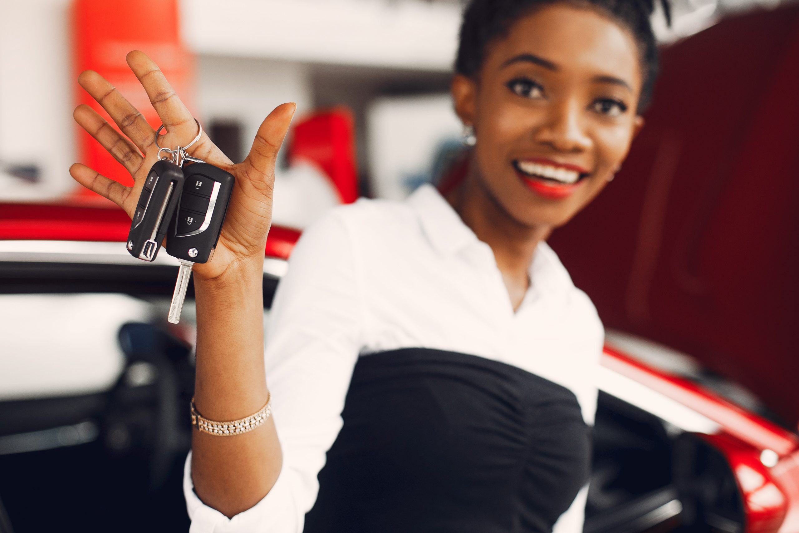 young woman buying a car in EOFY car sales