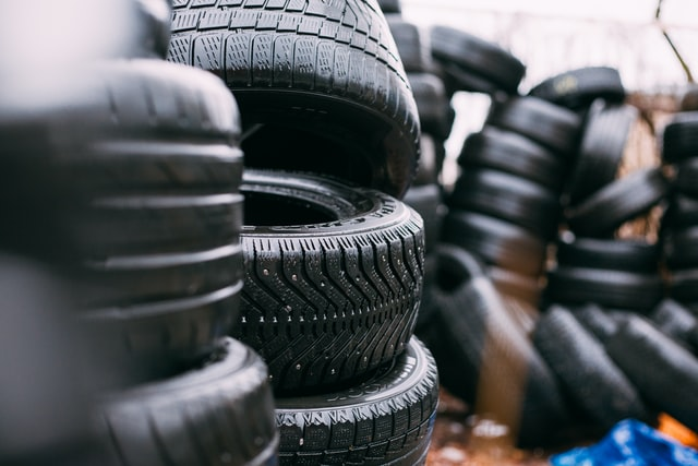 piles of old tyres
